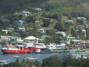 Both ferries, red and green, at the wharf. Photo taken by Susan Toy from The View.